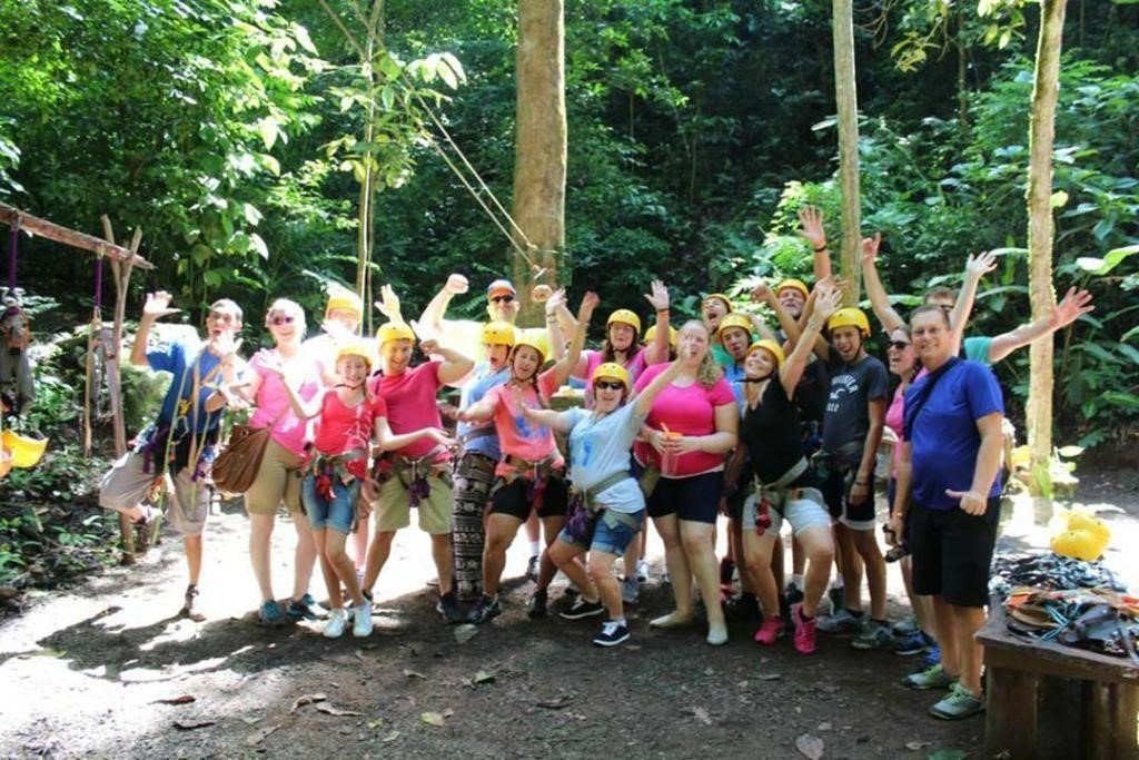 Group Enjoing an Adveture Zip Line